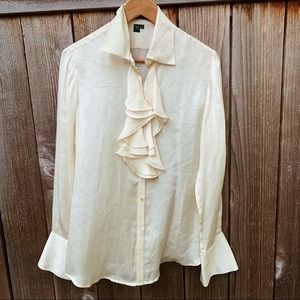 Lauren Ralph Lauren Silk Ruffle White Blouse